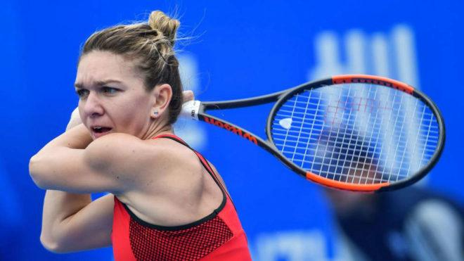 Simona Halep, durante un partido en Shenzhen
