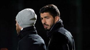 Messi y Suárez, en un entrenamiento.