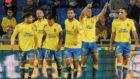 Los jugadores de Las Palmas celebran el 1-0, obra de Calleri.