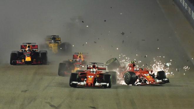 Vettel, Raikkonen y Verstappen, en la salida de Singapur.