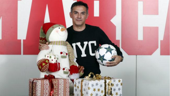 Manuel Retamero, durante su visita navideña a la redacción de MARCA