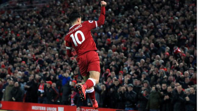 Coutinho celebra un gol esta temporada con el Liverpool