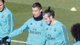 Cristiano y Bale durante la última sesión antes del Celta