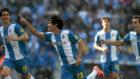 Coutinho celebra un gol en su etapa en el Espanyol