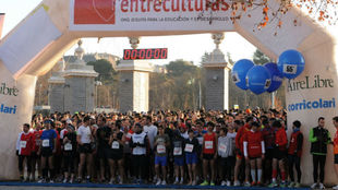 Los participantes, en la línea de salida de la carrera en Madrid.