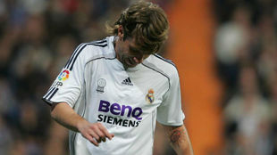 Cassano en un partido con el Real Madrid