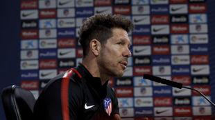 Simeone, en la rueda de prensa antes de recibir al Lleida.