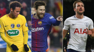 Neymar, Messi y Harry Kane, los jugadores con mayor valor de mercado.