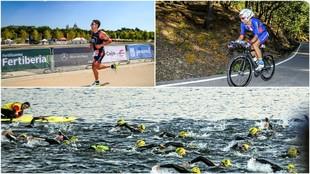 Varias imágenes del triatlón Villa de Madrid de 2015.