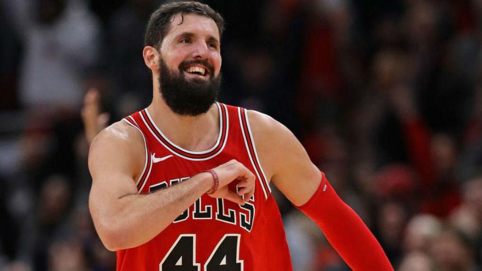 Nikola Mirotic celebra una canasta con los Chicago Bulls