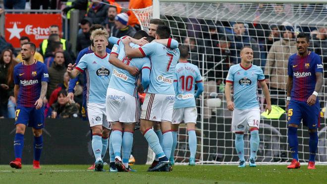 El Celta celebra un gol en el partido de la primera vuelta de LaLiga.