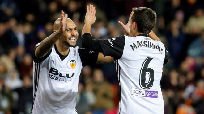 Maksimovic celebra su primer gol con el Valencia.