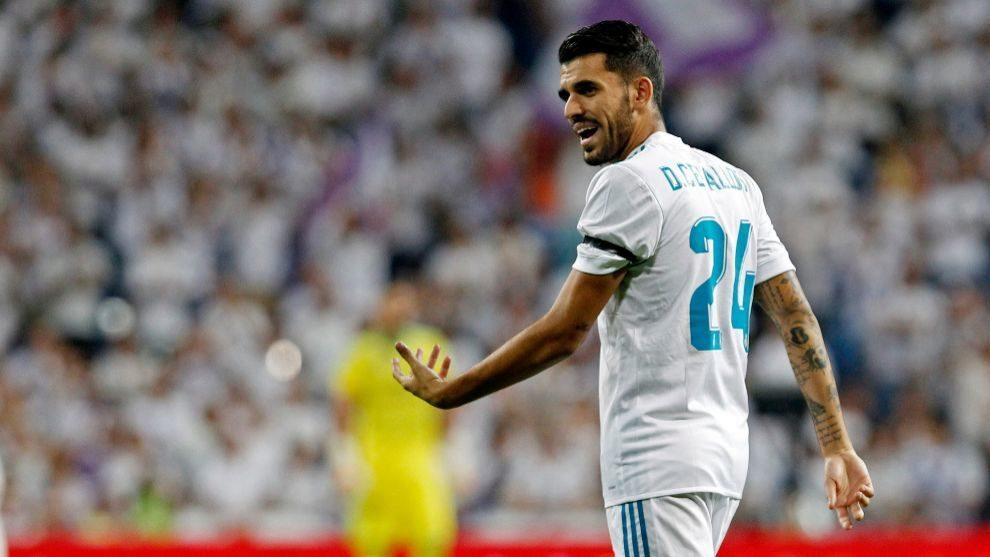 Dani Ceballos durante un partido con el Real Madrid