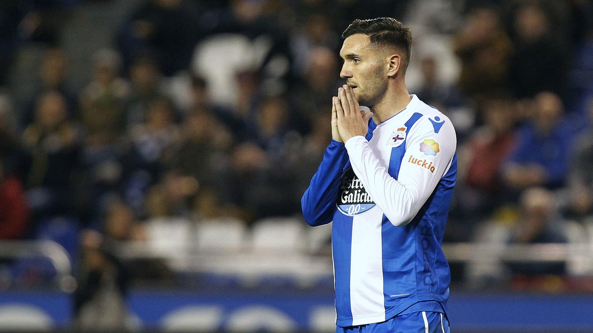 El delantero Lucas Pérez en el partido Deportivo-Leganés