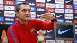 Ernesto Valverde, en sala de prensa.
