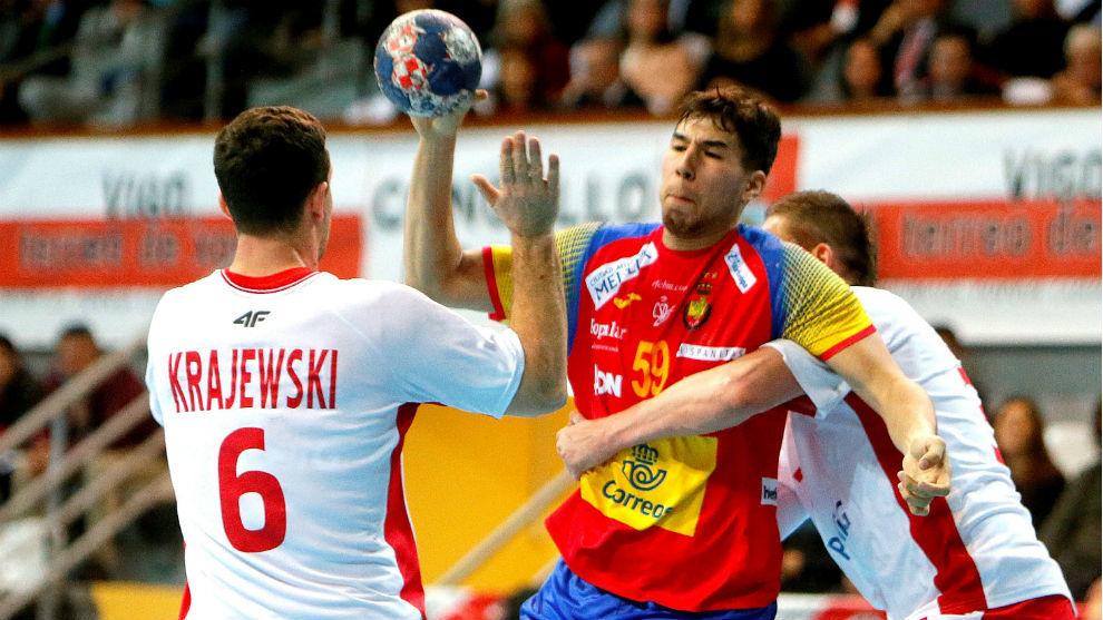 Daniel Dujshebaev, en el partido contra Polonia del Torneo...