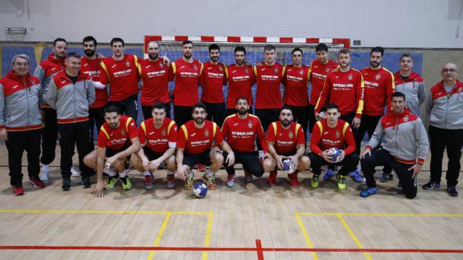 La selección española, al término de su último entrenamiento...