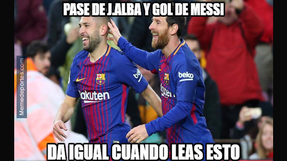 Pass from J. Alba and goal for Messi / It doesnt matter when you read...