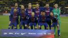 El once inicial del Barça que salió ante el Celta de Vigo.