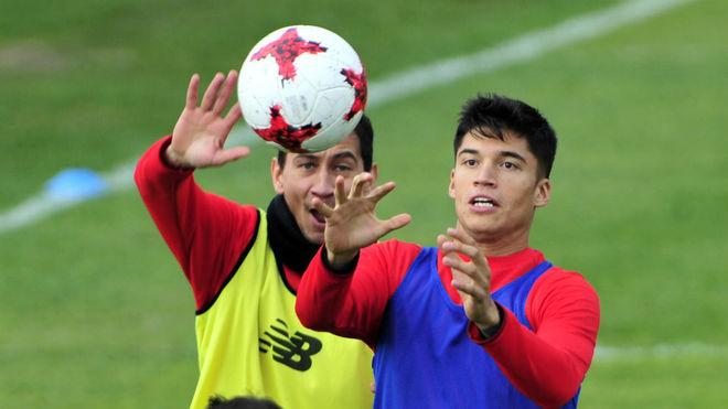 Correa y Ganso, en un entrenamiento.