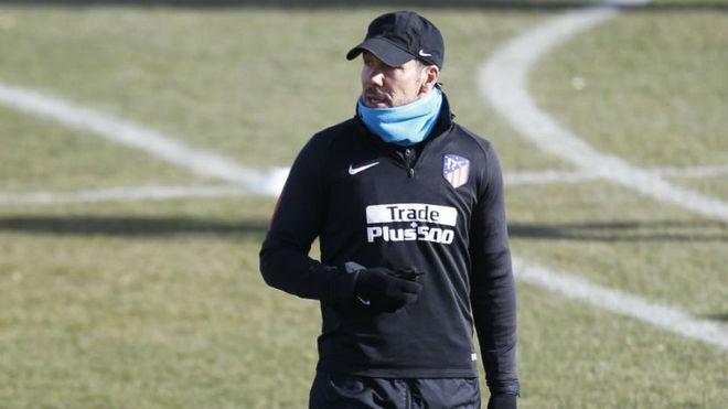 Simeone, durante el entrenamiento en Majadahonda.