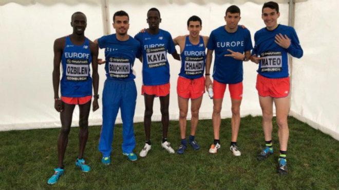 El equipo europeo, con Mechaal y Dani Mateo.