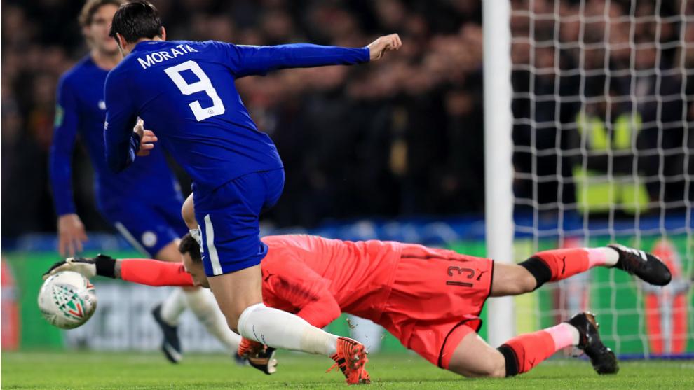 Morata, durante una acción del partido frente al Leicester