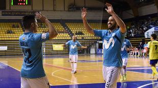 Borja y Rafael celebran uno de los goles del Movistar Inter.