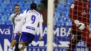 Pombo celebra su gol con Borja Iglesias.