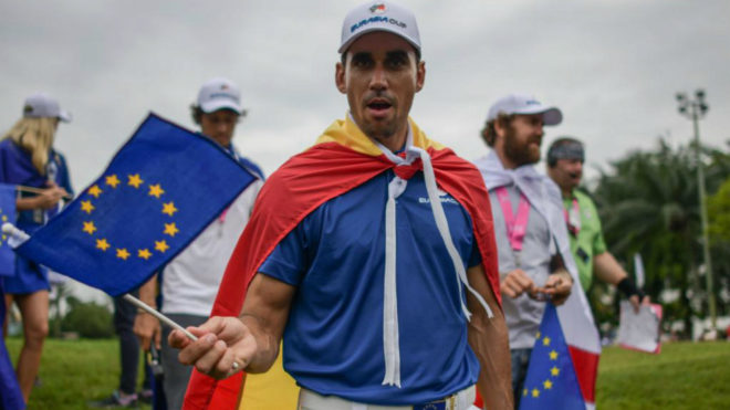 Rafa Cabrera-Bello celebra el triunfo europeo.
