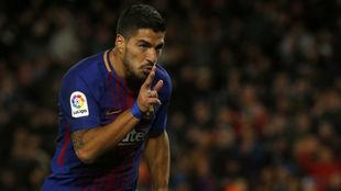 Suárez celebra su último gol ante el Celta