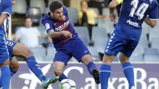 Alfaro, con el Barça B, en el partido contra el Lorca.