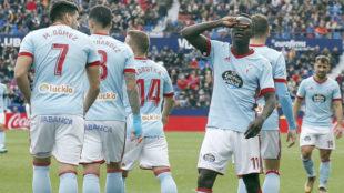 Pione Sisto celebra su gol ante el Levante.