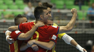 Sergio Lozano celebra un gol con la selección en el Mundial de...