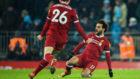Salah celebra su gol al Ciy.