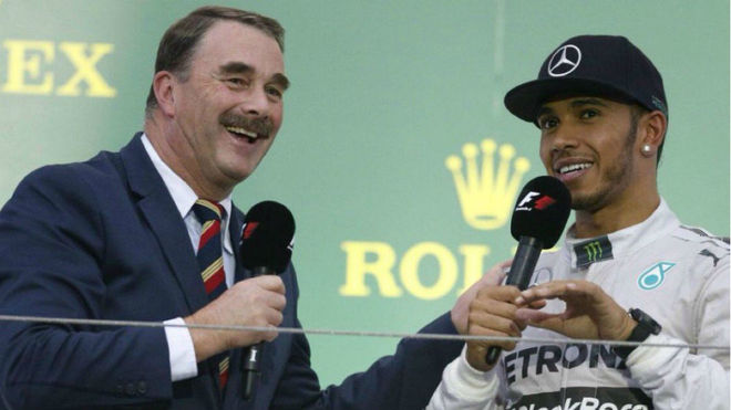 Nigel Mansell, con Lewis Hamilton