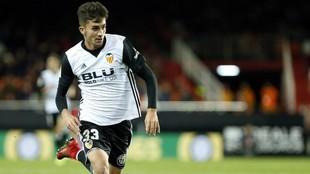Ferrán Torres, durante un partido en Mestalla.