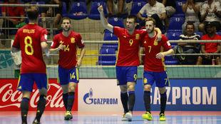 Sergio Lozano durante un partido de la selección española