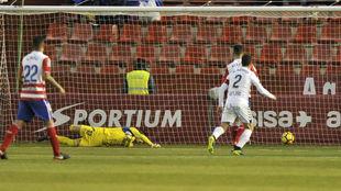 El primer gol encajado por el Granada ante el Albacete el domingo.