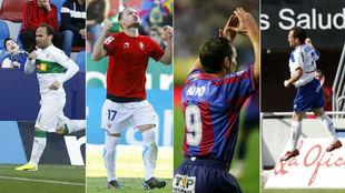 Nino celebra goles con Elche, Osasuna, Levante y Tenerife