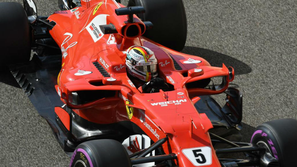 Vettel, en los últimos test de 2017 en el circuito Yas Marina de Abu...