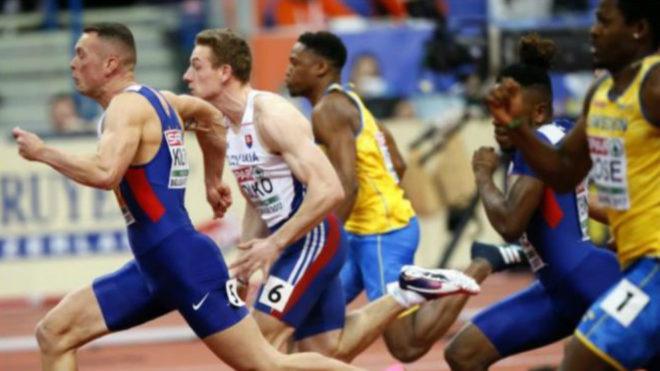 Richard Kilty (primero a la izquierda) durante una carrera.