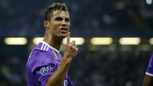 Cristiano celebra un gol en la final de Cardiff