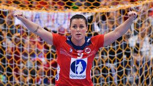 Nora Mörk celebra un gol con Noruega en el pasado Mundial