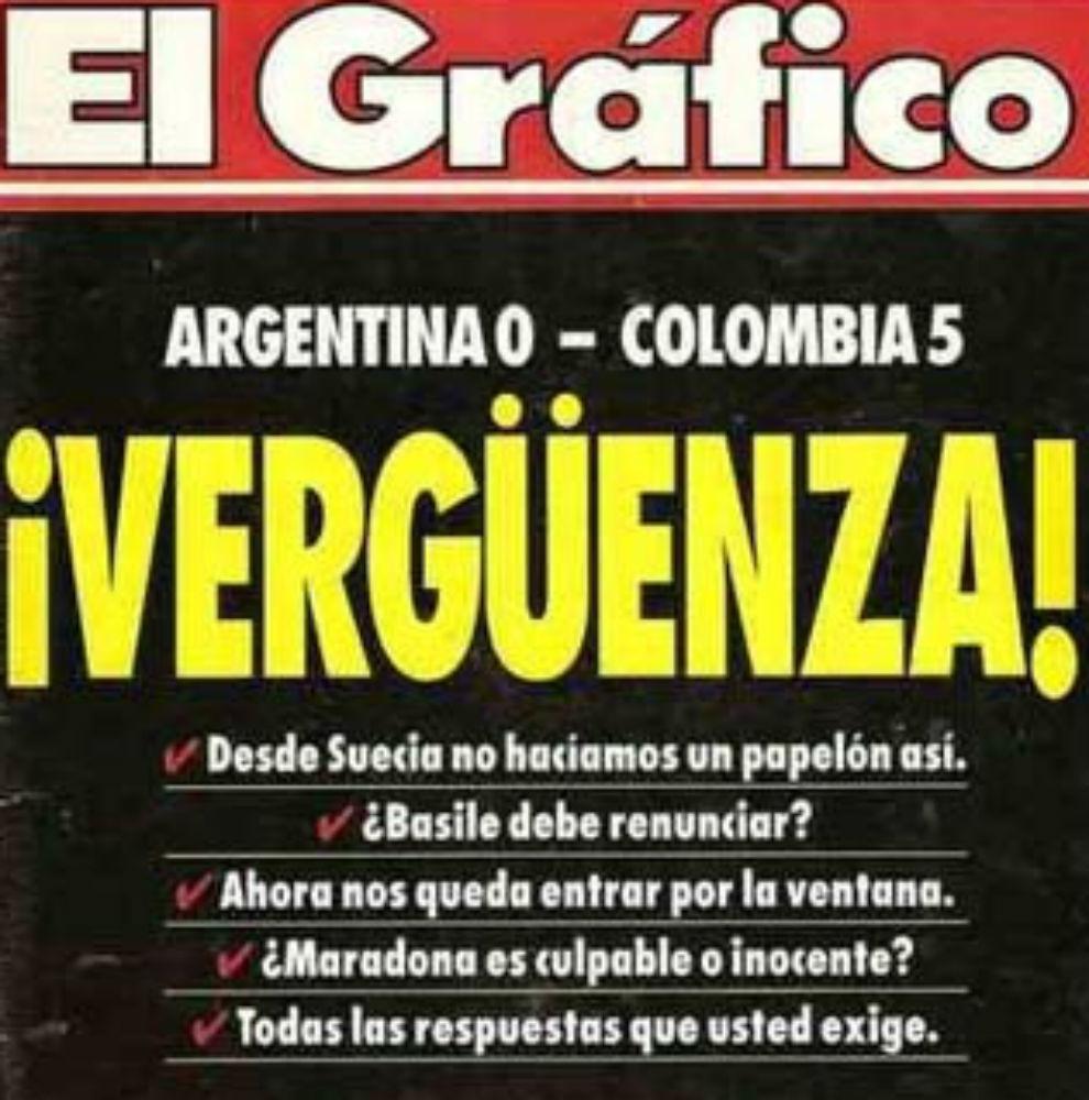 La famosa portada del 0-5. Argentina-Colombia, 1993