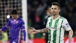 Rubén, celebrando su gol al Leganés