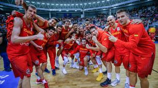 La selección española celebra su última victoria ante Eslovenia