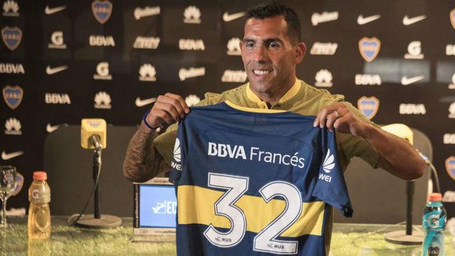 Tévez en su presentación con Boca Juniors