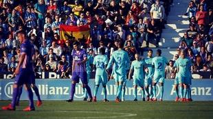 Los jugadores del FC Barcelona celebran un gol en Butarque.