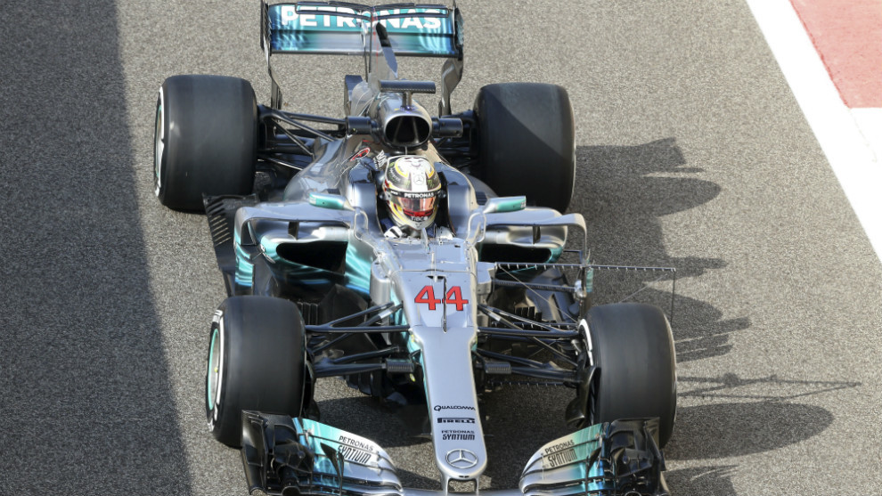 Lewis Hamilton en su Mercedes.
